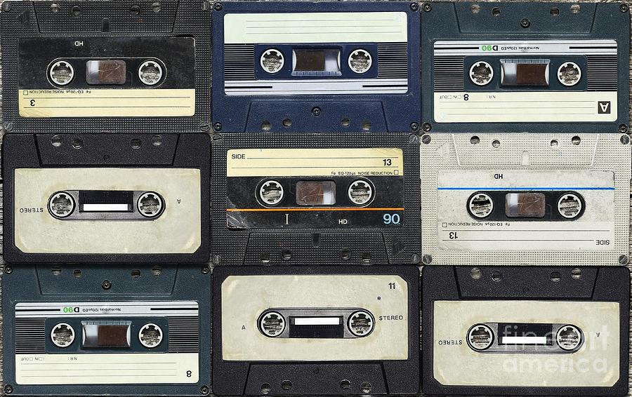 Play Photograph - Audio Cassettes. Retro Background by Krasovski Dmitri