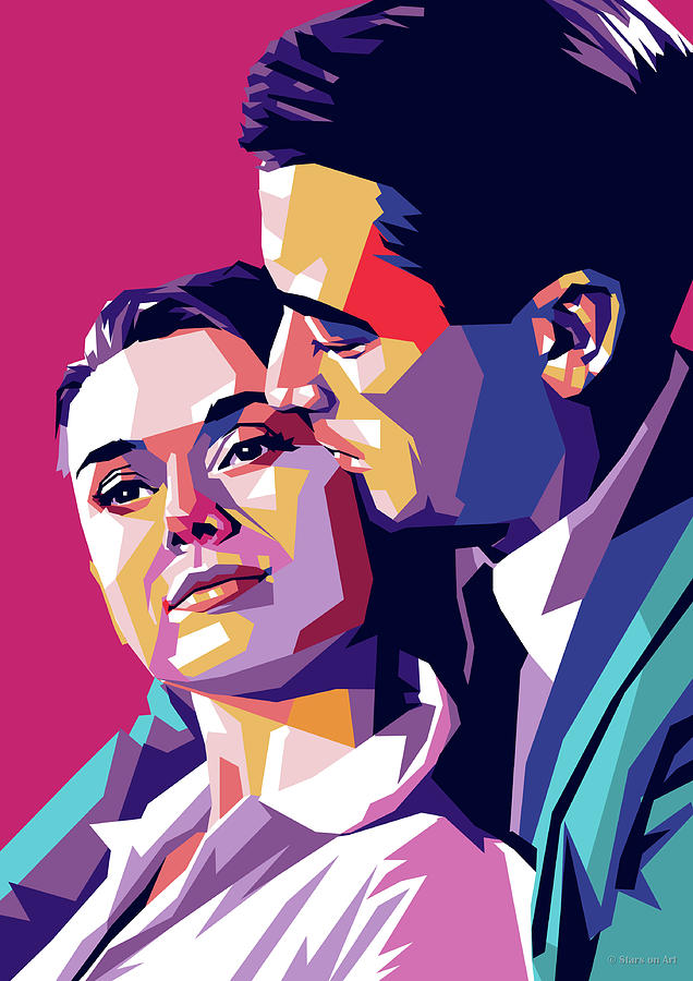 Gregory Digital Art - Audrey Hepburn And Gregory Peck by Stars on Art