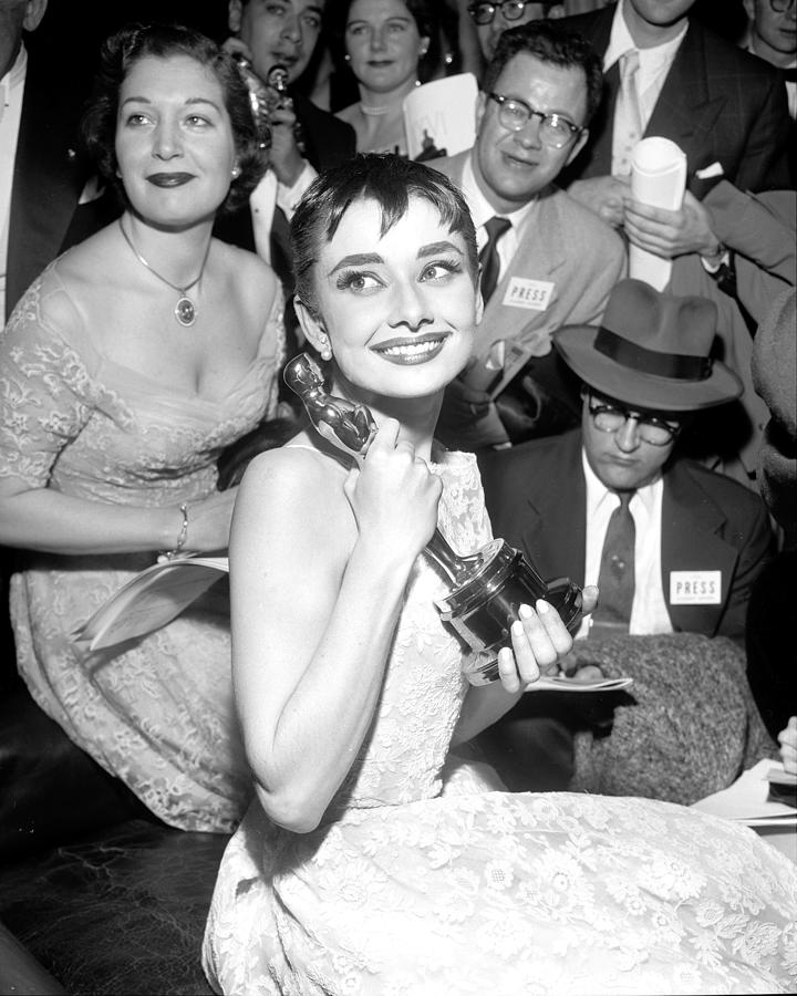 Audrey Hepburn, Holds Her Academy Award Photograph by New York Daily News Archive