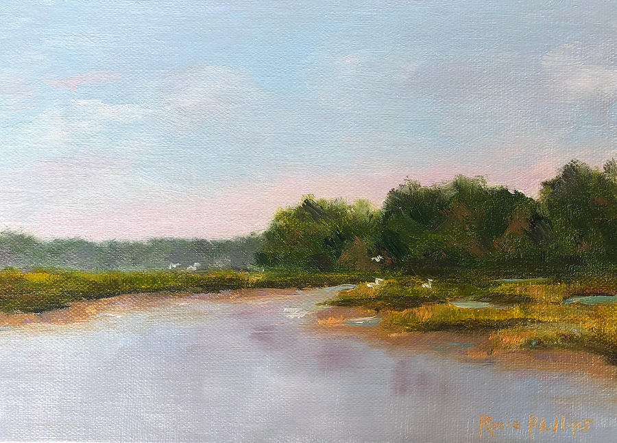 Marsh Painting - August 11, Mid Tide at MId Day by Rosie Phillips