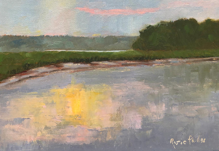 Creek Painting - August 18, 7 AM by Rosie Phillips