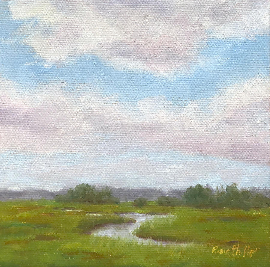 Creek Painting - August 26, Across The Marsh by Rosie Phillips