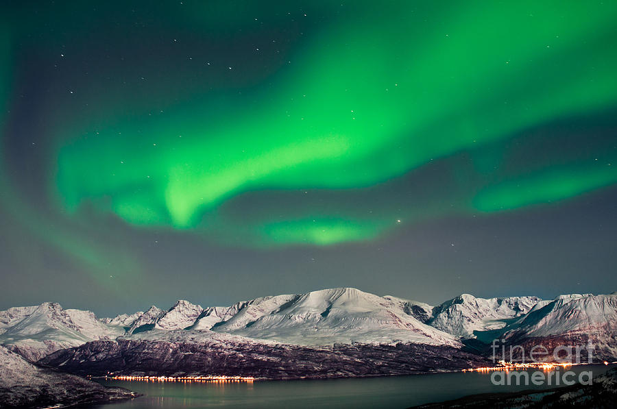Vibrant Color Photograph - Aurora Above Fjords In Norway by Strahil Dimitrov