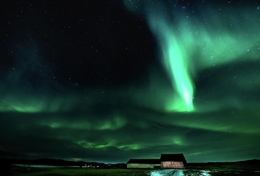 Iceland Photograph - Aurora and the Barn by Framing Places