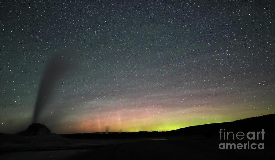 Aurora Borealis with Geyser by Jean Clark