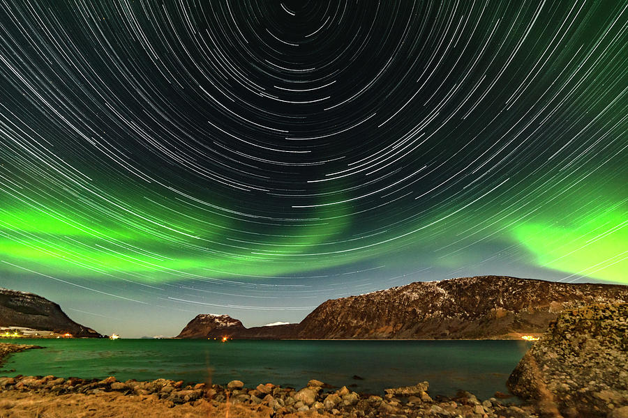 Northern Lights Photograph - Aurora Borealis With Startrails by Kai Mueller
