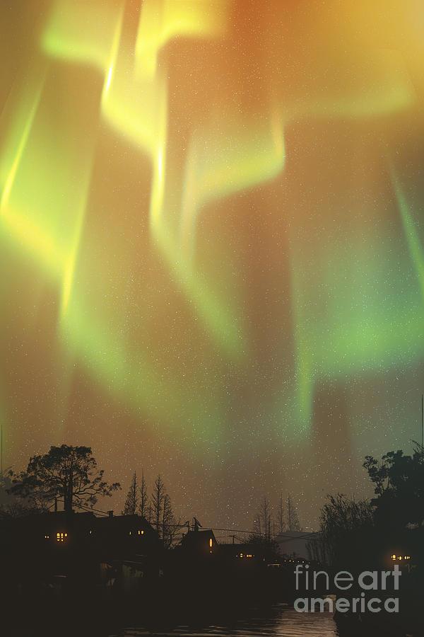 Phenomenon Digital Art - Aurora Borealis,northern Lights Above by Tithi Luadthong