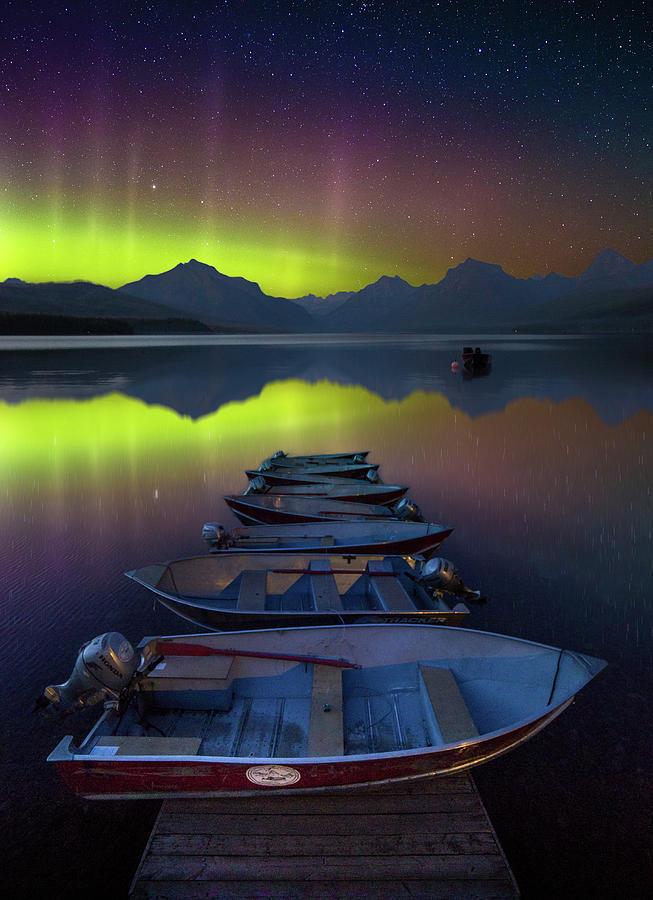 Aurora Display / Lake McDonald, Glacier National Park  by Nicholas Parker