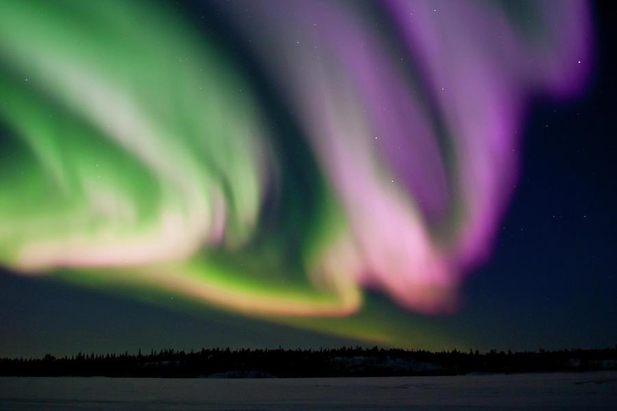 Aurora Northern Lights In Pink, Purple Photograph by Steve Schwarz