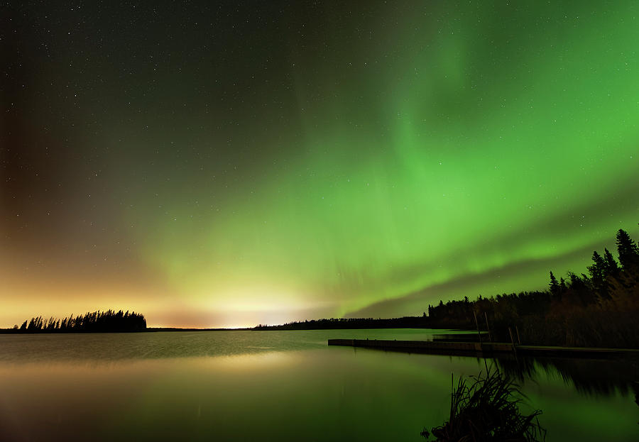 Aurora over Astotin Lake by Dan Jurak