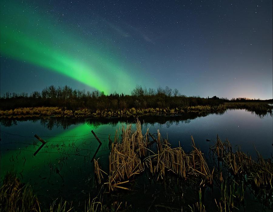 Aurora over pond by Dan Jurak