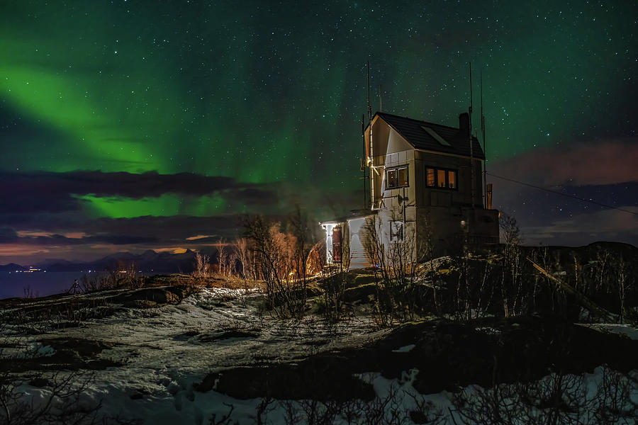 Aurora Borealis Photograph - Aurora Over The Radio Station by Kai Mueller