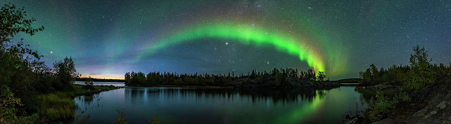 Aurora Photograph - Auroral Arc In Twilight At Tibbitt Lake by Alan Dyer