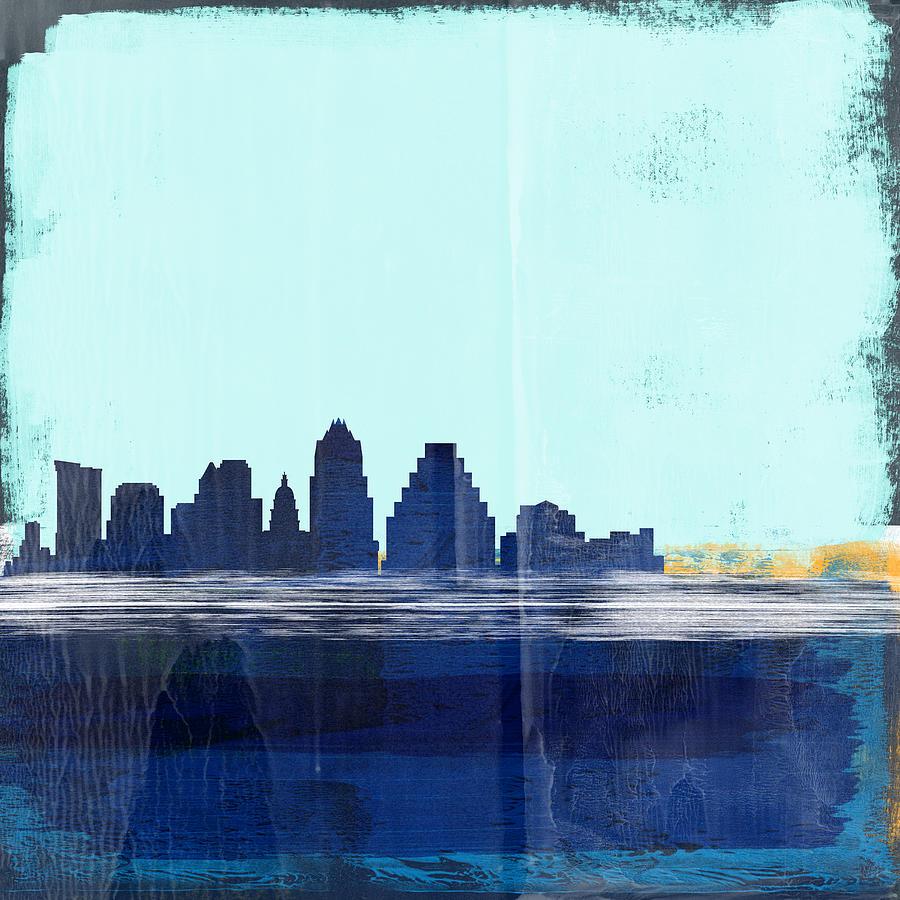 Austin Mixed Media - Austin Abstract Skyline I by Naxart Studio