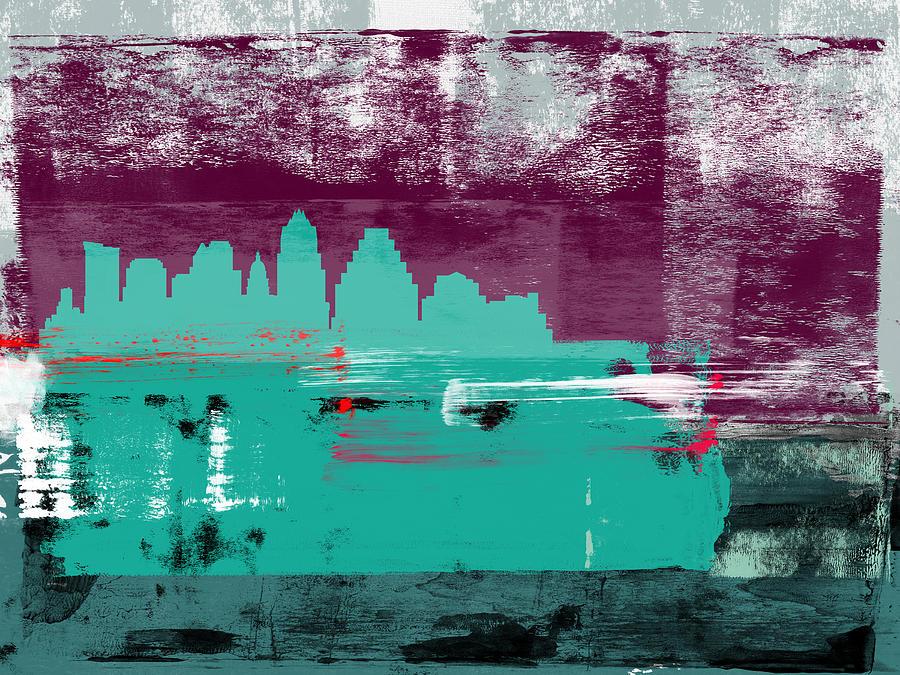 Austin Mixed Media - Austin Abstract Skyline II by Naxart Studio