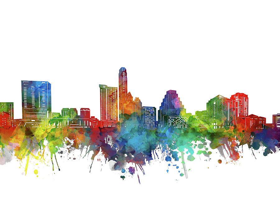Austin City Skyline Watercolor Digital Art