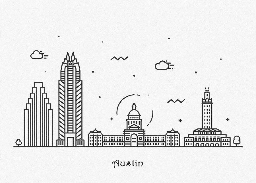 Austin Drawing - Austin Cityscape Travel Poster by Inspirowl Design