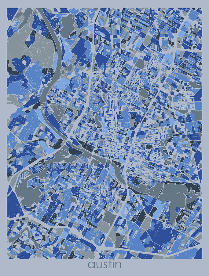 Austin Digital Art - Austin Map Retro 5 by Bekim M