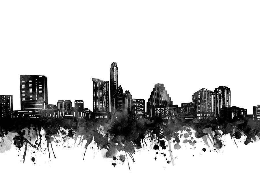Austin Digital Art - Austin Skyline Bw by Bekim M