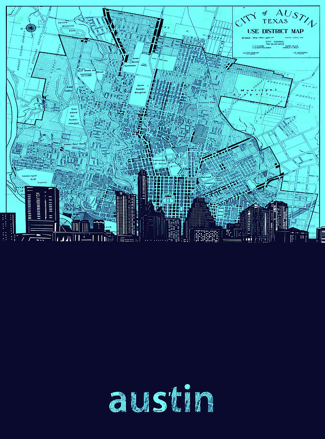 Austin Digital Art - Austin Skyline Map Turquoise by Bekim M