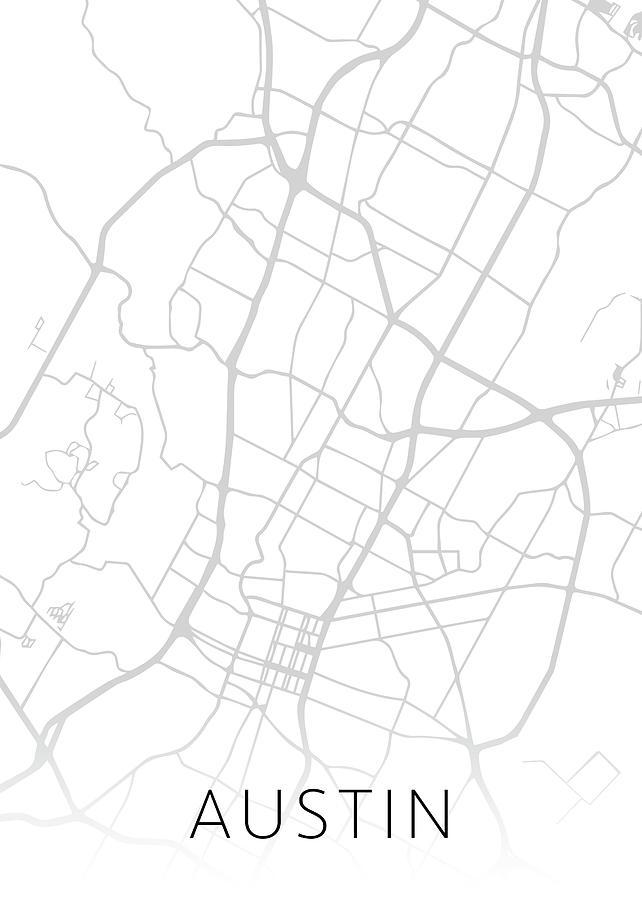 Texas Map Black And White Austin Texas City Street Map Black and White Minimalist Series