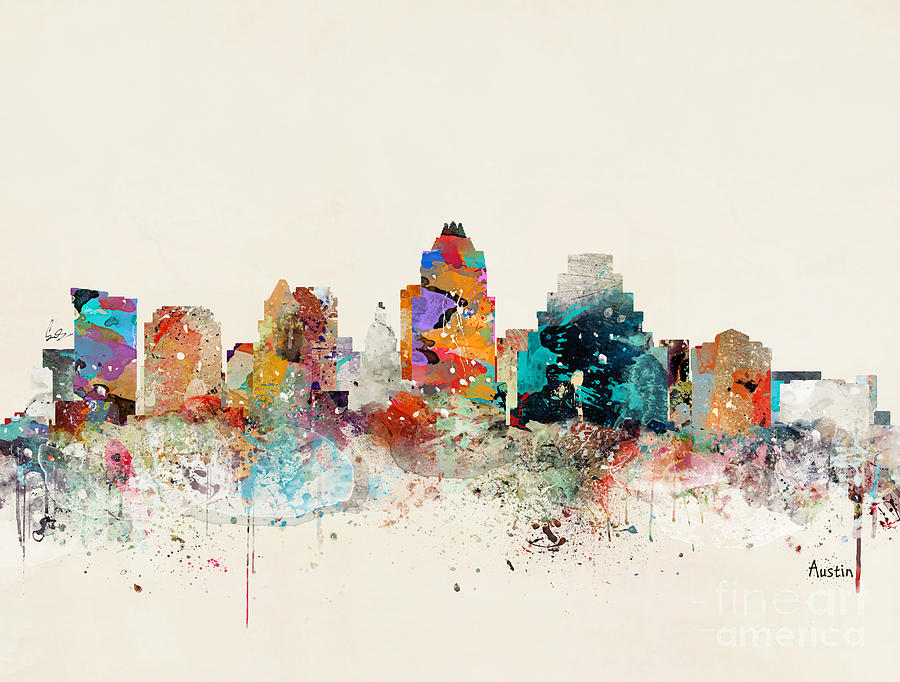Austin Painting - Austin Texas Skyline by Bri Buckley