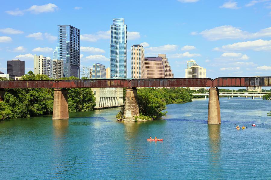 Austin Texas Skyline, Colorado River Photograph by Dszc