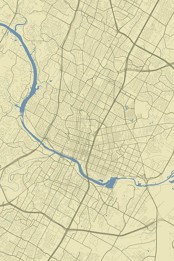 Road Map Of Austin Texas.Austin Texas Usa Classic Map By Jurq Studio