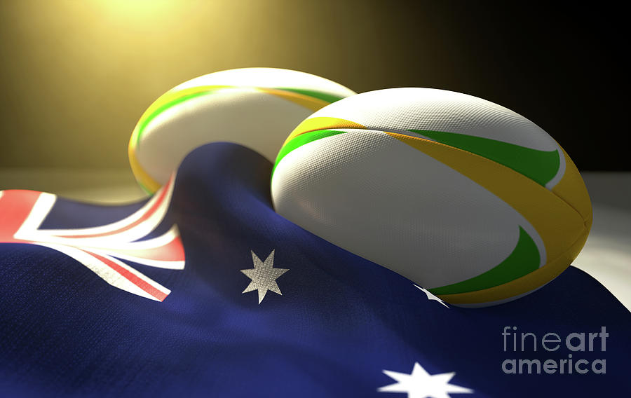 Rugby Digital Art - Australia Flag And Rugby Ball Pair by Allan Swart