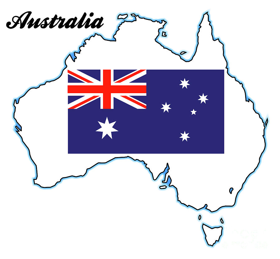 Australia Map With Flag.Australia Map And Flag By Bigalbaloo Stock