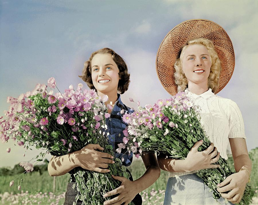Australian girls at flower farm, 1950's Australia colorized by Ahmet Asar by Ahmet Asar