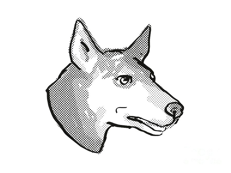 Retro Digital Art - Australian Kelpie Dog Breed Cartoon Retro Drawing by Aloysius Patrimonio