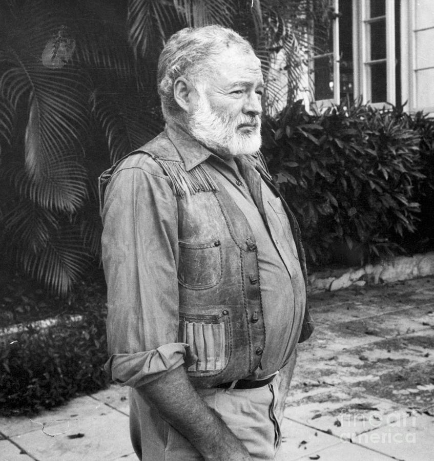Author Ernest Hemingway In Yard Photograph by Bettmann