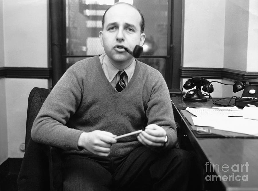 Author Jerome Weidman Smoking A Pipe Photograph by Bettmann