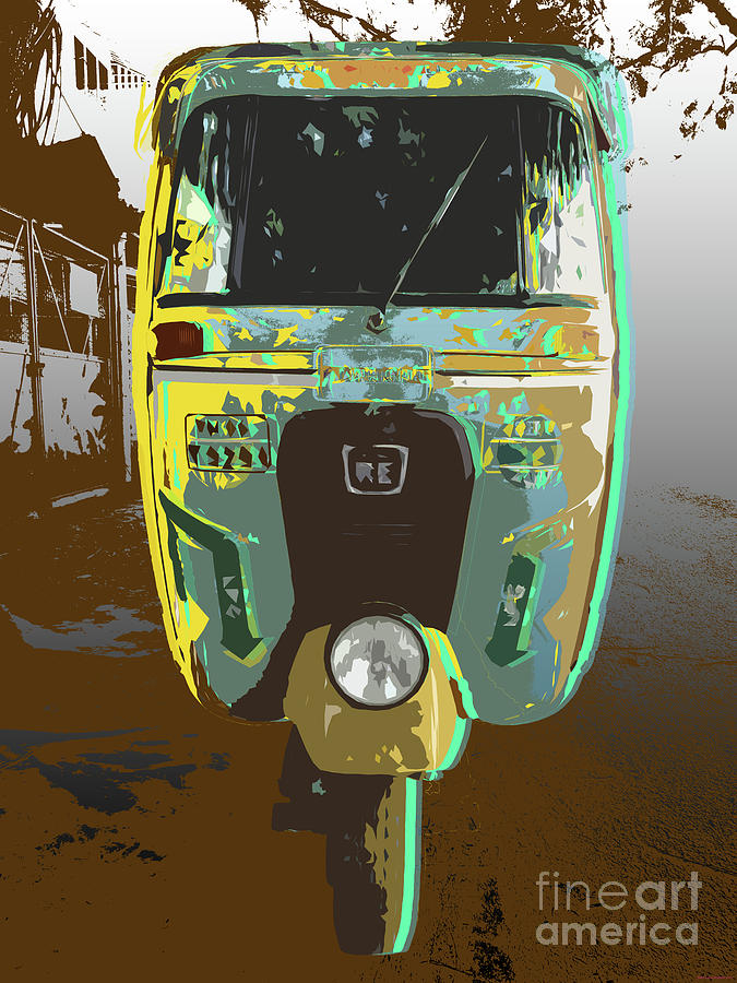 Auto Rickshaw Pop Art by Jean luc Comperat