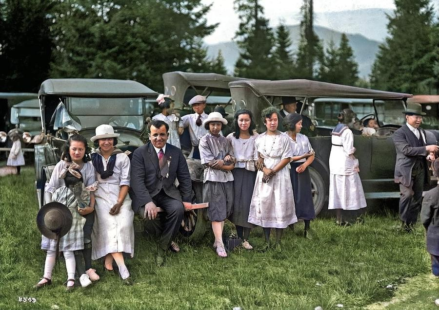 Automobile rally at Chinese Convention, North Vancouver, BC, 1921, by Stuart Thomson colorized by Ah by Ahmet Asar