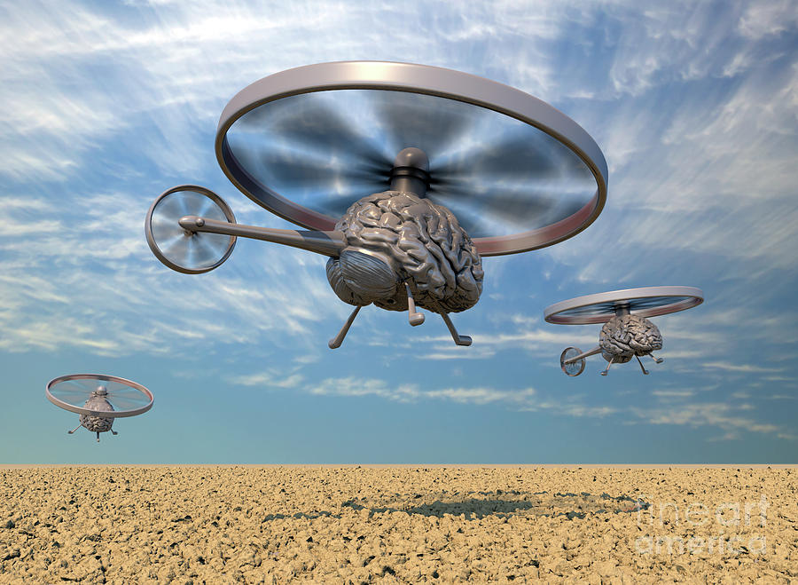 Autonomous Helicopter Robot Drones With Clouds by Russell Kightley