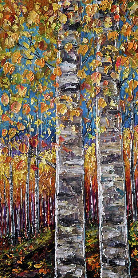 Autumn Aspen Colors Palette Knife by OLena Art - Lena Owens