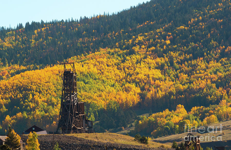 Autumn Aspen Leaves And Goldfield Mine Photograph