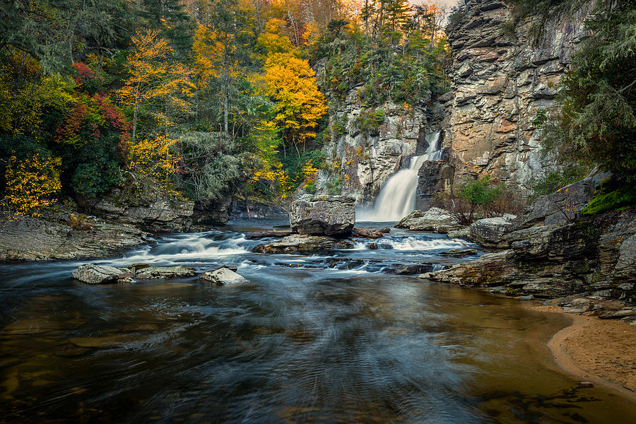 Autumn Photograph - Autumn At Linville Falls - Linville Gorge Blue Ridge Parkway by Mike Koenig