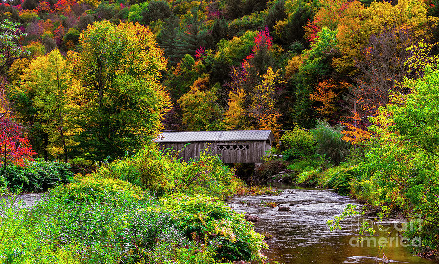 Autumn at the Comstock Covered Bridge by New England Photography