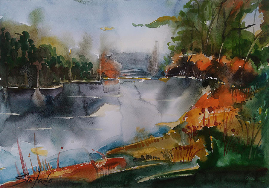 Watercolors Painting - Autumn at the Lake by Stefano Popovski