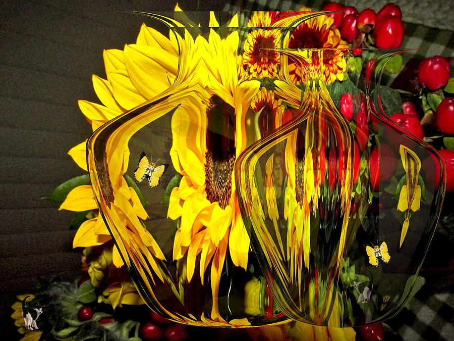 Autumn Bouquet Through Vases by Joyce Dickens