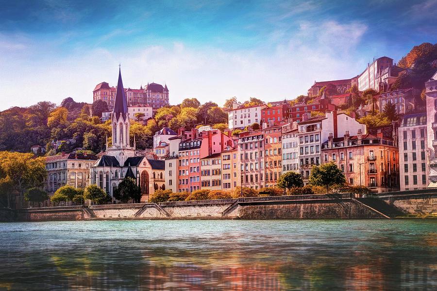 Autumn By The Saone River Lyon France Photograph