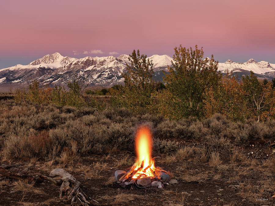 Altitude Photograph - Autumn Camp Fire by Leland D Howard
