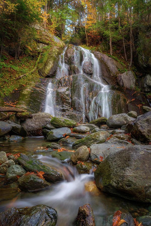 Autumn Cascade at Moss Glen Falls by Kristen Wilkinson