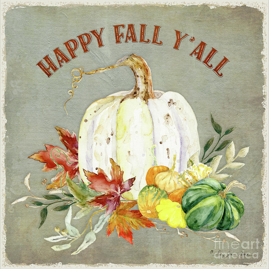 Happy Fall Painting - Autumn Celebration - 4 Happy Fall Yall White Pumpkin Fall Leaves Gourds by Audrey Jeanne Roberts