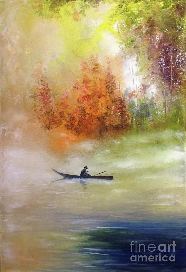 Autumn Dawning, Autumn Colours, Fisherman On An Autumn Lake Painting