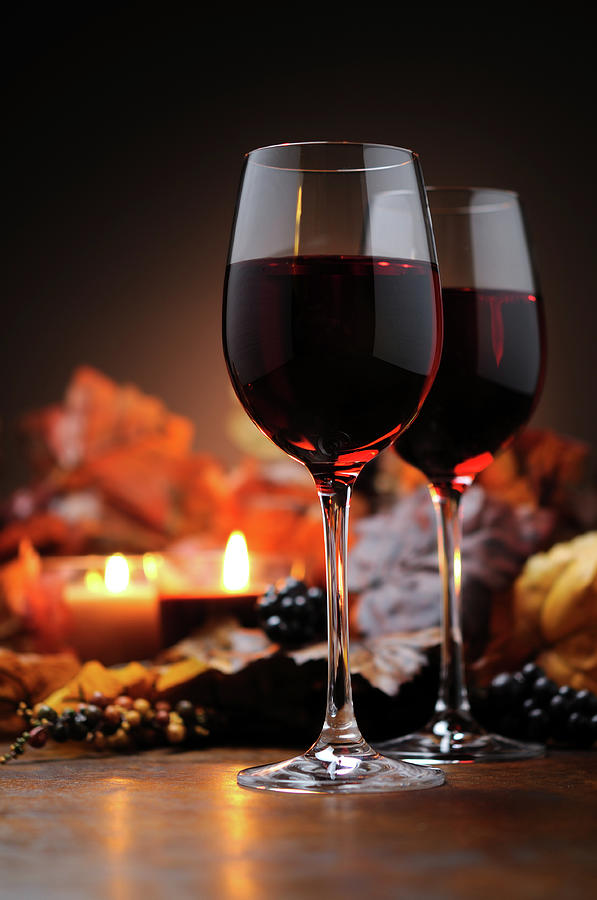 Autumn Decoration With Wine And Candle Photograph by Moncherie