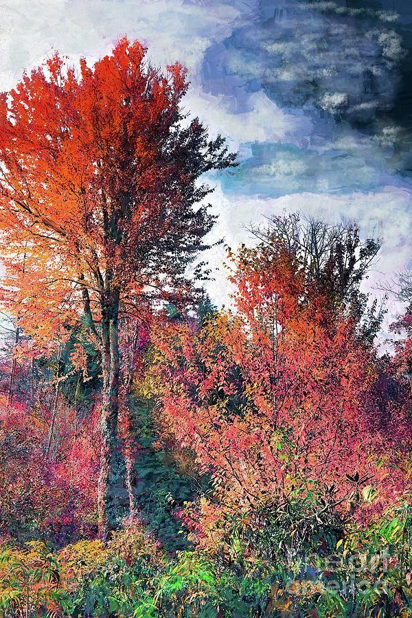Autumn Fall Colors Yellow Trees Blue Sky Ap Painting By Dan Carmichael